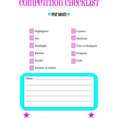Competition Checklist for Moms Printable